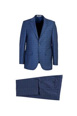 Erkek Giyim - KOYU MAVİ 60 Beden Regular Fit Yünlü Ekose Takım Elbise