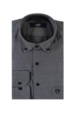Erkek Giyim - SİYAH L Beden Uzun Kol Oxford Spor Gömlek
