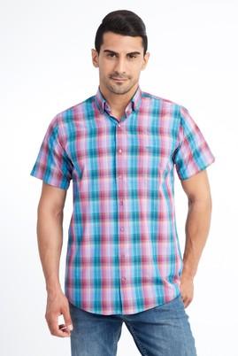 Erkek Giyim - Pembe 3X Beden Kısa Kol Ekose Spor Gömlek