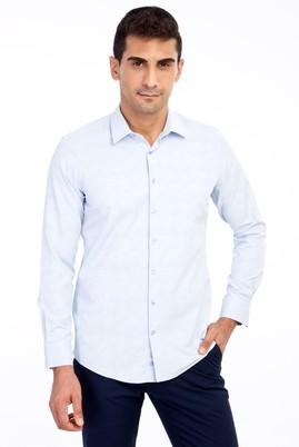 Erkek Giyim - AÇIK MAVİ XL Beden Uzun Kol Slim Fit Desenli Gömlek