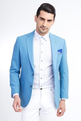 Erkek Giyim - Turkuaz 48 Beden Yünlü Spor Ceket