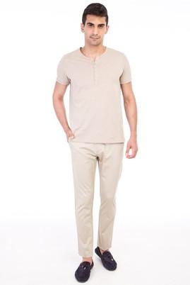 Erkek Giyim - Bej 56 Beden Saten Spor Pantolon