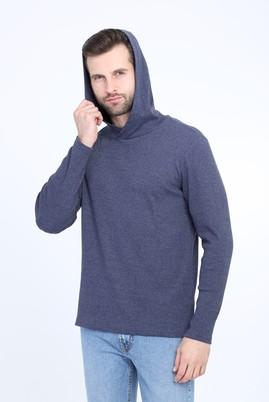 Erkek Giyim - LACİVERT L Beden Kapüşonlu Slim Fit Sweatshirt