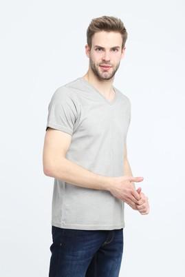 Erkek Giyim - ORTA FÜME 3X Beden V Yaka Slim Fit Tişört