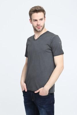 Erkek Giyim - FÜME GRİ L Beden V Yaka Slim Fit Tişört