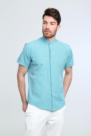 Erkek Giyim - Kısa Kol Hakim Yaka Desenli Slim Fit Gömlek