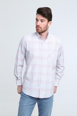 Erkek Giyim - AÇIK BORDO L Beden Uzun Kol Ekose Klasik Gömlek