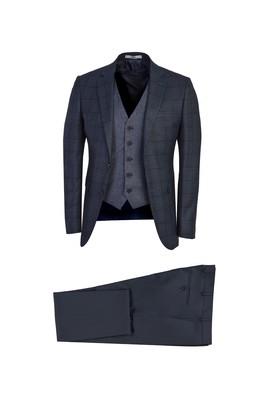 Erkek Giyim - KOYU MAVİ 52 Beden Süper Slim Fit Yelekli Desenli Takım Elbise