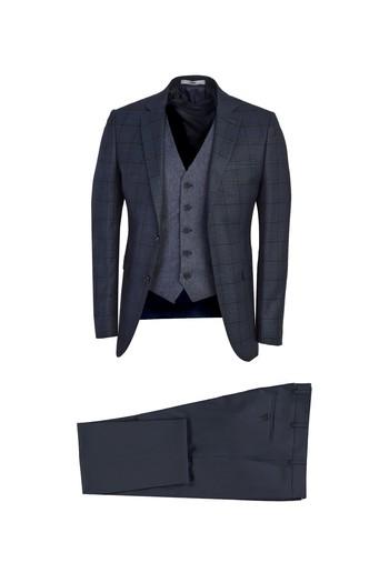 Erkek Giyim - Süper Slim Fit Yelekli Desenli Takım Elbise