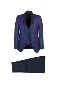 Erkek Giyim - Şal Yaka Slim Fit Yelekli Smokin / Damatlık