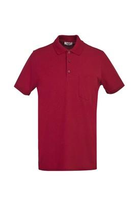 Erkek Giyim - KOYU KIRMIZI 3X Beden Polo Yaka Regular Fit Tişört