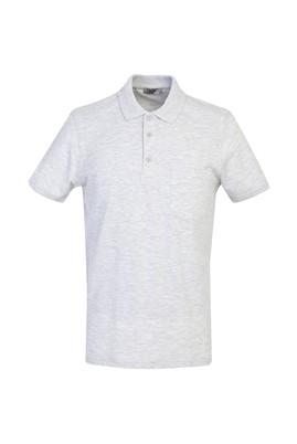 Erkek Giyim - AÇIK GRİ MELANJ L Beden Polo Yaka Regular Fit Tişört