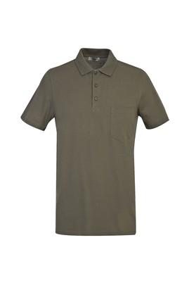 Erkek Giyim - ORTA HAKİ 3X Beden Polo Yaka Regular Fit Tişört