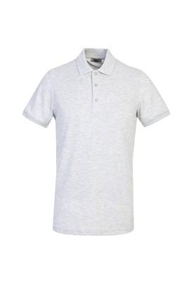 Erkek Giyim - AÇIK GRİ MELANJ L Beden Polo Yaka Slim Fit Tişört