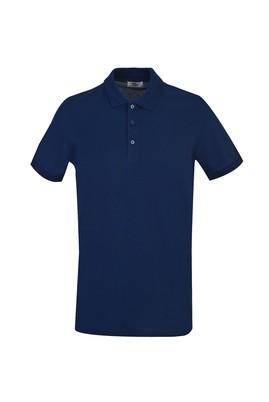 Erkek Giyim - ORTA LACİVERT 3X Beden Polo Yaka Slim Fit Tişört