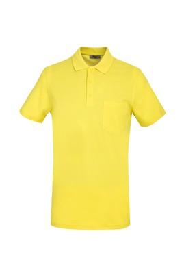 Erkek Giyim - LİMON SARI 3X Beden Polo Yaka Slim Fit Tişört