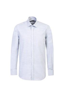 Erkek Giyim - ORTA LACİVERT 3X Beden Uzun Kol Relax Fit Desenli Gömlek