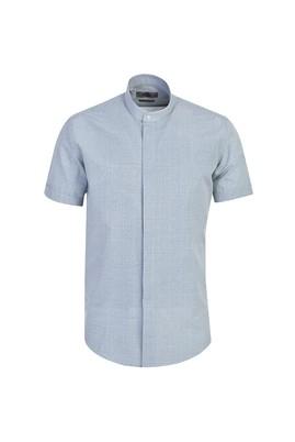 Erkek Giyim - ORTA BEJ L Beden Kısa Kol Slim Fit Desenli Gömlek