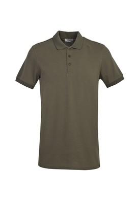 Erkek Giyim - ORTA HAKİ M Beden Polo Yaka Slim Fit Tişört