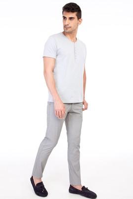 Erkek Giyim - ORTA FÜME 56 Beden Slim Fit Spor Desenli Pantolon