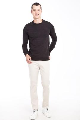 Erkek Giyim - KREM 46 Beden Slim Fit Desenli Spor Pantolon
