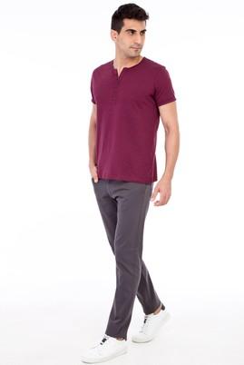 Erkek Giyim - Füme Gri 48 Beden Slim Fit Desenli Spor Pantolon