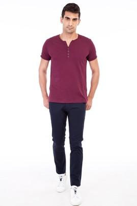 Erkek Giyim - Lacivert 48 Beden Slim Fit Desenli Spor Pantolon