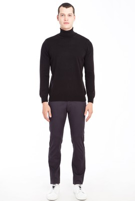 Erkek Giyim - ANTRASİT 46 Beden Slim Fit Saten Spor Pantolon