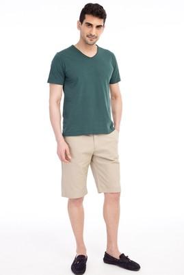 Erkek Giyim - Bej 54 Beden Desenli Bermuda Şort
