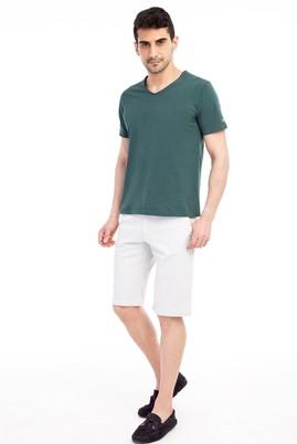 Erkek Giyim - KREM 48 Beden Slim Fit Desenli Bermuda Şort