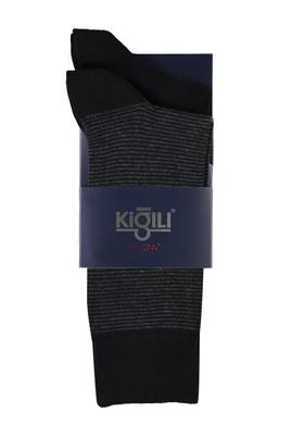 Erkek Giyim - ORTA FÜME 40 Beden 2'li Desenli Çorap