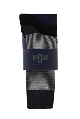 Erkek Giyim - ORTA FÜME MELANJ 40 Beden 2'li Desenli Çorap