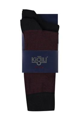 Erkek Giyim - KOYU BORDO 40 Beden 2'li Desenli Çorap