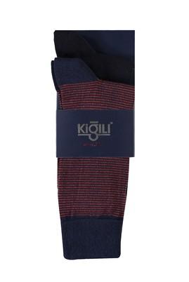 Erkek Giyim - ORTA TURUNCU 40 Beden 2'li Desenli Çorap