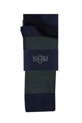 Erkek Giyim - KOYU YEŞİL 40 Beden 2'li Desenli Çorap