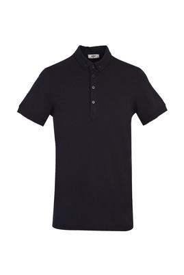 Erkek Giyim - SİYAH M Beden Yarım İtalyan Yaka Regular Fit Süprem Tişört