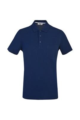 Erkek Giyim - ORTA LACİVERT M Beden Polo Yaka Düz Regular Fit Tişört