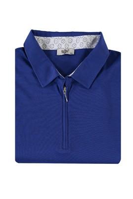 Erkek Giyim - SAKS MAVİ 4X Beden King Size Polo Yaka Fermuarlı Tişört