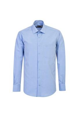 Erkek Giyim - KOYU MAVİ 4X Beden Uzun Kol Klasik Desenli Gömlek