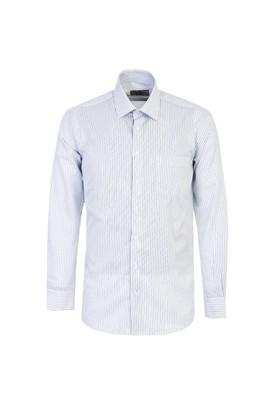 Erkek Giyim - AÇIK MAVİ L Beden Uzun Kol Regular Fit Çizgili Gömlek