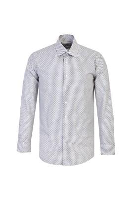 Erkek Giyim - SİYAH XL Beden Uzun Kol Slim Fit Desenli Gömlek
