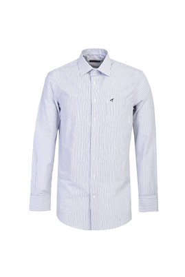 Erkek Giyim - Beyaz L Beden Uzun Kol Klasik Çizgili Gömlek