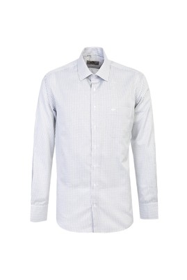 Erkek Giyim - ORTA GRİ L Beden Uzun Kol Klasik Ekose Gömlek