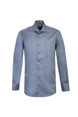Erkek Giyim - AÇIK GRİ L Beden Uzun Kol Klasik Saten Gömlek
