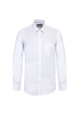 Erkek Giyim - BEYAZ XL Beden Uzun Kol Klasik Desenli Gömlek