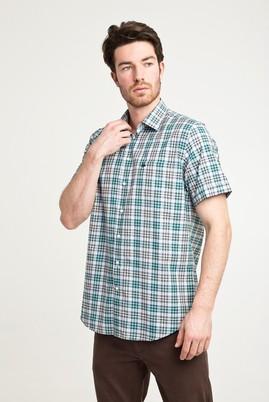 Erkek Giyim - ÇİMEN YEŞİLİ S Beden Kısa Kol Ekose Klasik Gömlek