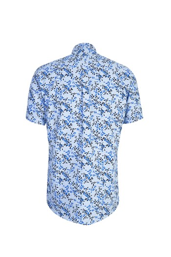 Erkek Giyim - Kısa Kol Desenli Relax Fit Gömlek