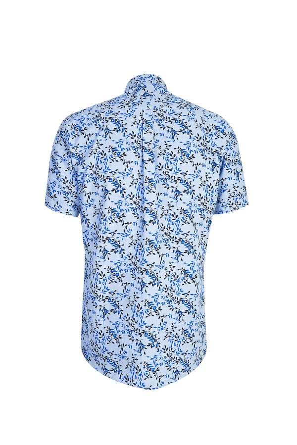 Kısa Kol Desenli Relax Fit Gömlek