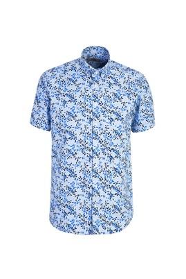 Erkek Giyim - AÇIK MAVİ L Beden Kısa Kol Desenli Relax Fit Gömlek