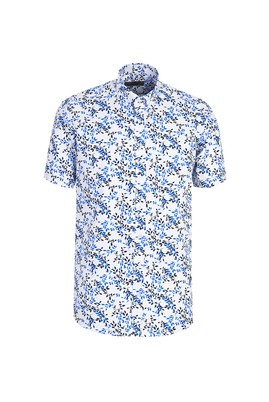 Erkek Giyim - BEYAZ M Beden Kısa Kol Desenli Relax Fit Gömlek